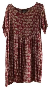 Barbara Root short dress Red batik pattern Scoop Empire Waist on Tradesy