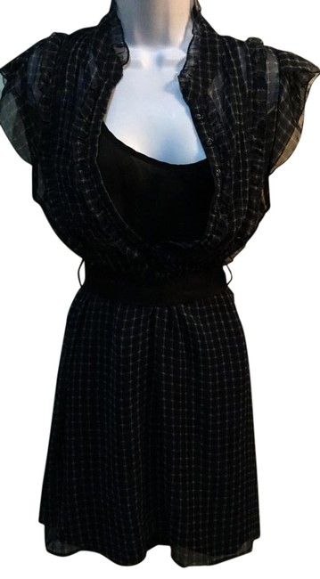 Item - Blue Plaid Black Sheer with Attached Underneath Mid-length Short Casual Dress Size 14 (L)