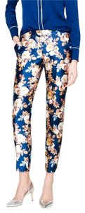 J.Crew Capri/Cropped Pants Blue, antique floral print
