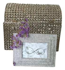 Crystal Card Box And Votive Set