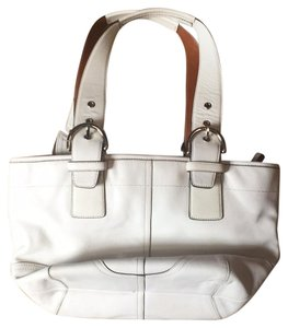 Coach Satchel in White With Tan Accents