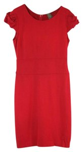 Taylor short dress Red Stretch Cotton Cap Sleeve Sheath on Tradesy
