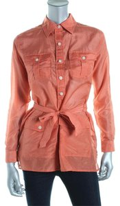 Ralph Lauren Silk Cotton Peach Blouse Button Down Shirt Peach-pink-orange
