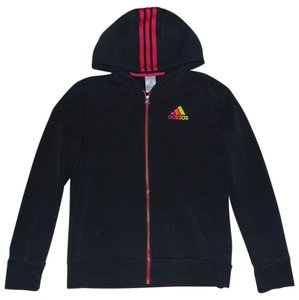 adidas Black Hoodie with Pink Trim