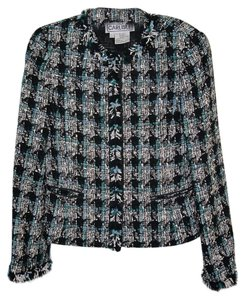 Carlisle Fringe Multi Colored Black, Teal and Cream Blazer
