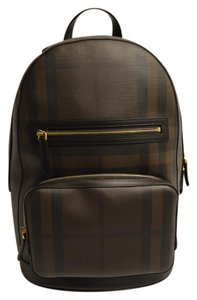 Burberry Leather Checkered Pockets Gold Zippers Backpack