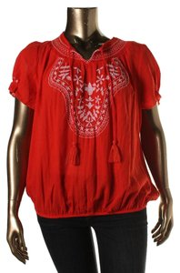 Style & Co Peasant Sequin Embroidered Cotton Top Red