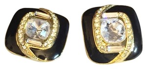 Trifari Trifari Black And Gold Enamel Crystal Rhinestone Earrings