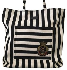 Gucci Cruise Nautical Stripes Crest Tote in Navy & Cream