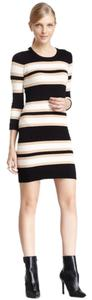 French Connection short dress Black, camel, cream Sweater Fall Winter Stripe on Tradesy