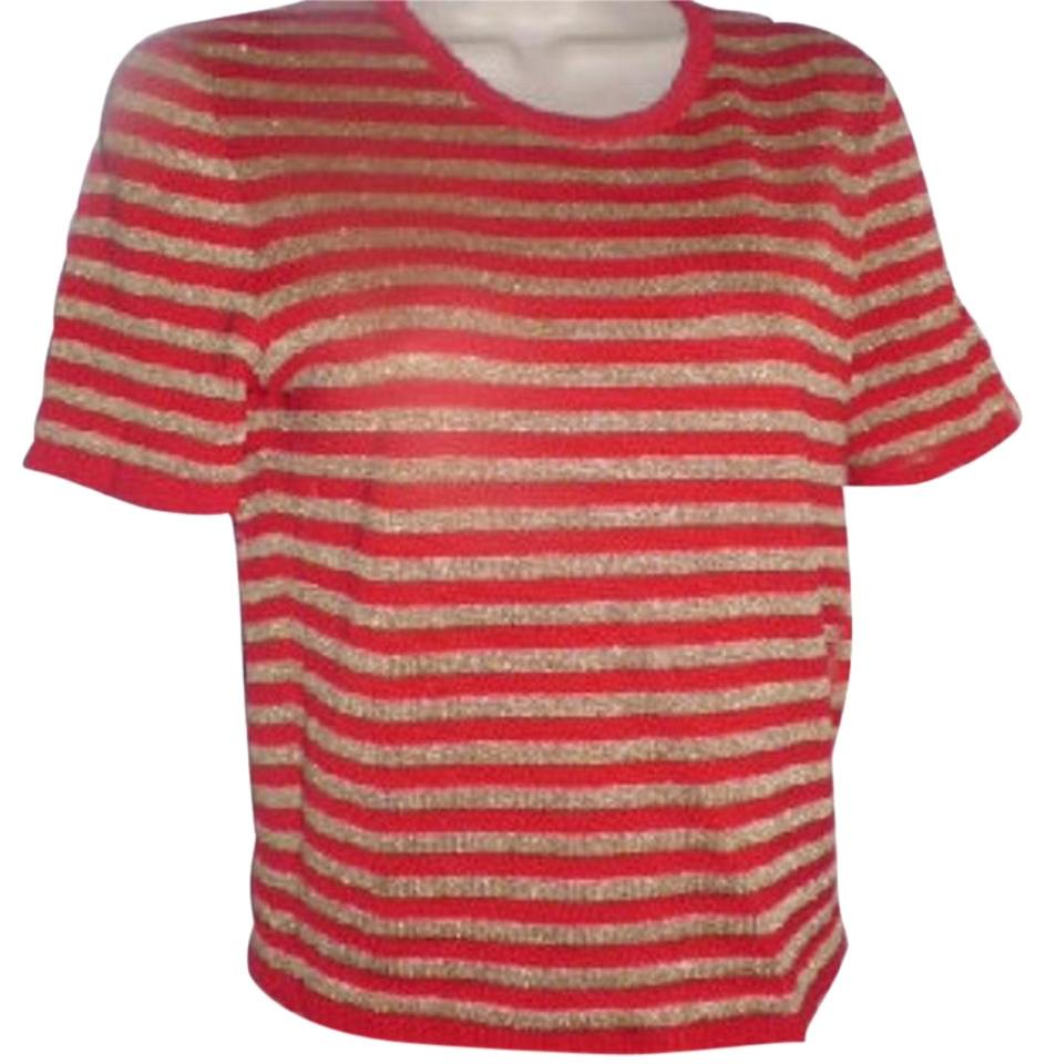 Saint Laurent Designer Yves Tops/Designer Clothes Red and Gold Striped  Sweater