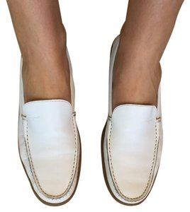 Salvatore Ferragamo Classic Leather Sporty Rubber Vintage white Flats