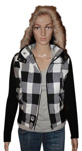 Glimmer Plaid Hooded Black & White Jacket