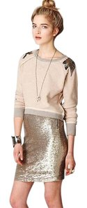 Free People Sequin Pencil Skirt Gold