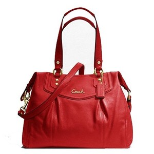 Coach Cross Body Leather Satchel in Cherry Red