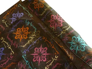 Chopard Silk Brown Marron Arabic Logomania Etole Scarf Multi-Color NEW