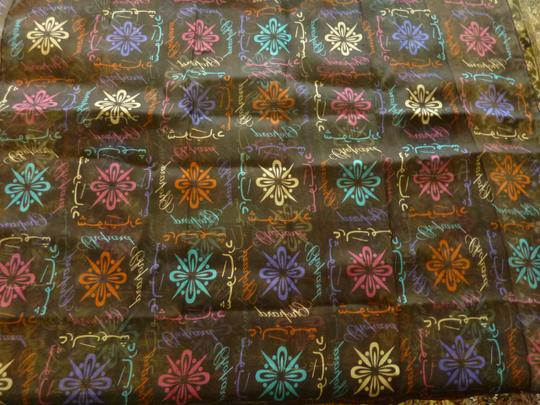 Chopard Silk Brown Marron Arabic Logomania Etole Scarf Multi-Color NEW Image 6