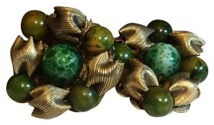 Anthropologie Hobe Vintage Costume Jewelry Cluster Green And Gold Clip On