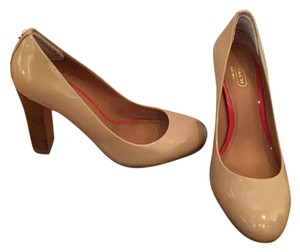Coach Patent Leather Wood Heel Nude Pumps