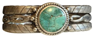 Vintage Turquoise And Silver Cuff Native American