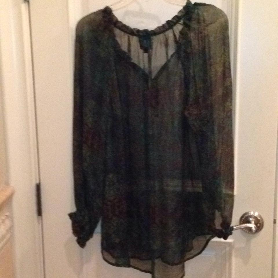 06a806952a405 Ella Moss Green Black and Gold Print Night Out Top Size 4 (S) - Tradesy