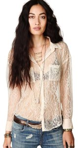 Free People Romantic Lace Collar Button Down Shirt Beige