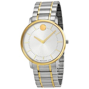 Movado Two Tone Silver and Gold Stainless Steel Designer MENS Watch