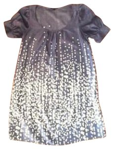 The Limited short dress Grey/Ivory Silk Blend Cotton Blend Dots Belted on Tradesy