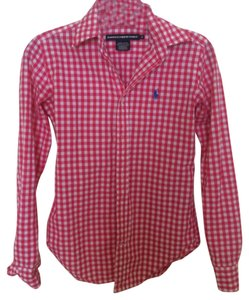 Ralph Lauren Versatile Button Down Shirt Bright pink and white gingham