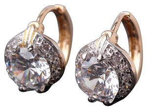 Other New White Sapphire 18K Platinum White Gold Filled Huggie Earrings