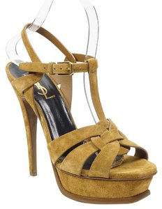 Saint Laurent Tribute Ysl 37.5 Suede Tan Brown Sandals