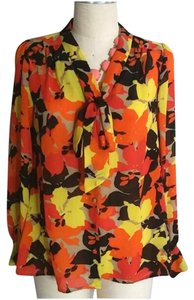 Vince Camuto Floral Flower Blouse Button Down Shirt Orange