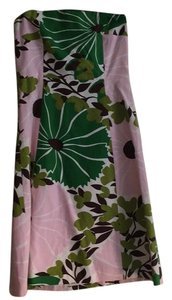 J.Crew short dress Pink, green, brown Strapless Party Summer Flor Floral on Tradesy