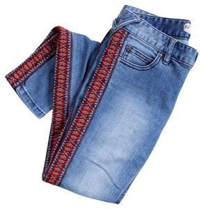 Free People Aztec Southwest Skinny Embroidered Skinny Jeans