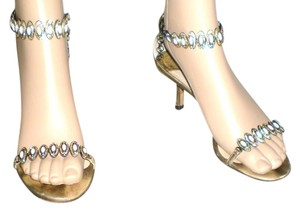 Jimmy Choo Jeweled Metallic Mid Heel Gold Sandals