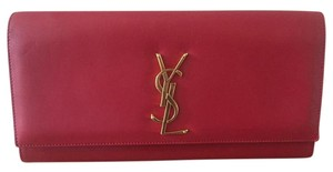 Saint Laurent Leather Hollywood Red Clutch
