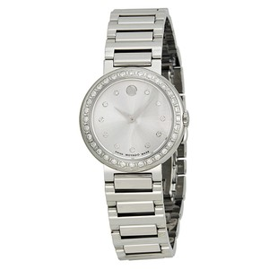 Movado Diamond Pave Bezel Silver Stainless Steel Luxury Dress Watch