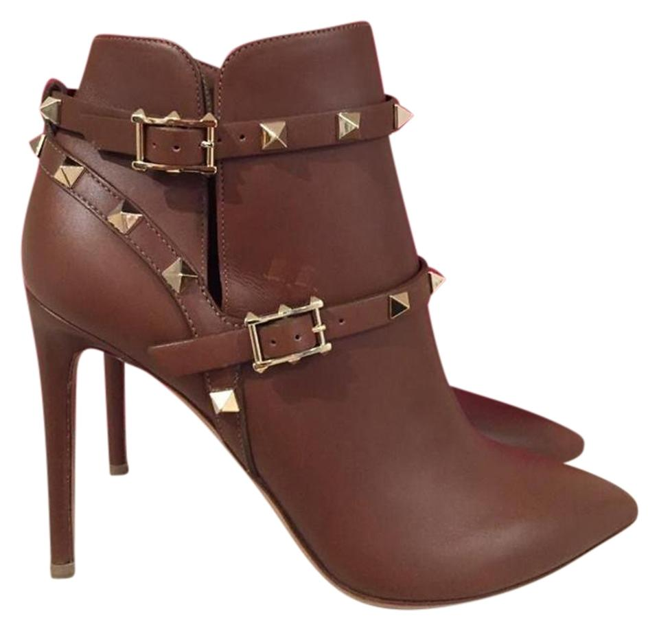 Valentino Brown Ankle Rockstud Tan Leather Buckle Ankle Brown Heel 37 Boots/Booties bdcde8