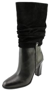 Donald J. Pliner Slouched Shaft Stacked Heel Pull-on Suede/leather Upper Black Boots