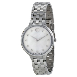 Movado Mother of Pear and Diamond Dial Stainless Steel Luxury Watch