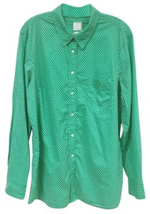 Gap Button Down Shirt Green, White