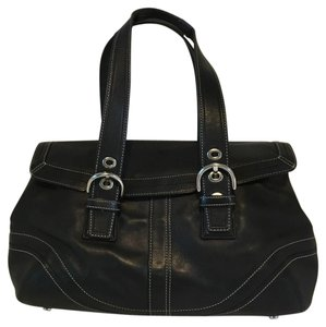 Coach Soho Flap Leather Satchel in black