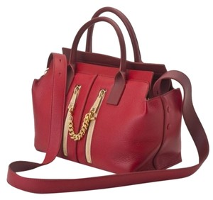Chloé Cate Leather Double Zipper Chloe Satchel in Red
