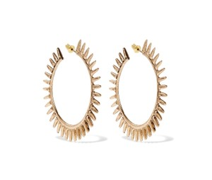 Kenneth Jay Lane New Spiked Statement Hoop Earrings, Antiued Gold
