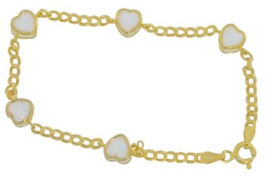 Elizabeth Jewelry 14Kt Yellow Gold Plated Opal Heart Bezel Bracelet