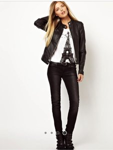 Vero Moda Leather Biker Distressed Motorcycle Jacket