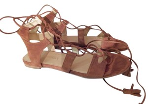 Stuart Weitzman Leather Flat Bohemian Amaretto Brown Sandals
