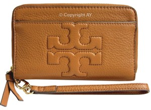 Tory Burch Leather Phone Case Wallet Wristlet in Bark (Brown)