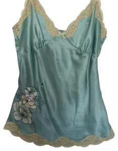 Banana Republic Top Mint green with beige lace trim