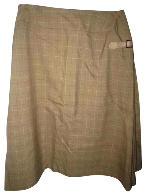 Item - Lightweight Wool Olive Green Red and Ivory Window Pane Plaid Vintage Skirts/Designer Clothes Skirt Size 4 (S, 27)